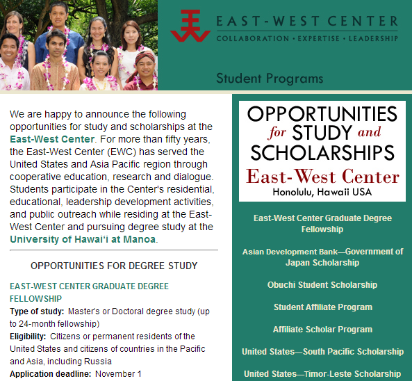 East-West Center Fellowships